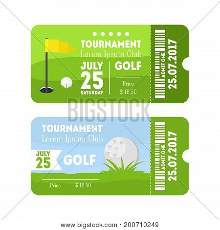 Cartoon Golf Sport Ticket Set Flat Design Style. Horizontal Invitation for Events Vector illustration
