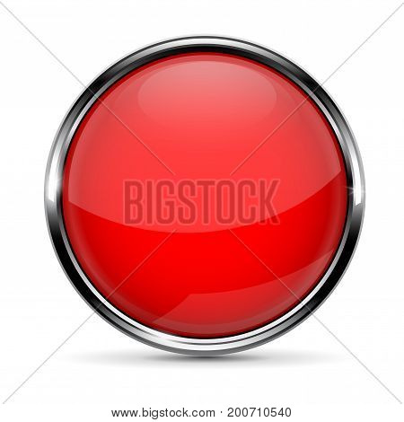 Red round glass button with chrome frame. Vector 3d illustration isolated on white background