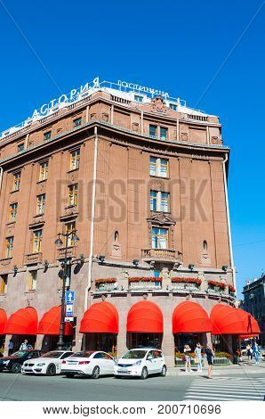 ST PETERSBURG RUSSIA - AUGUST 15 2017. Astoria hotel at Bolshaya Morskaya street in St Petersburg Russia in sunny day - facade perspective view. Facade view of St Petersburg Russia landmark
