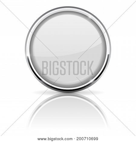 White glass button with chrome frame. Vector 3d illustration isolated on white background