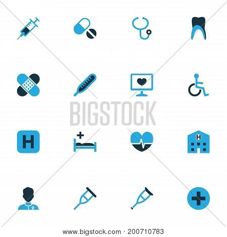 Antibiotic Colorful Icons Set. Collection Of Tablets, Sign, Crutch And Other Elements