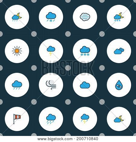 Weather Colorful Outline Icons Set. Collection Of Tempest, Freeze, Tornado And Other Elements