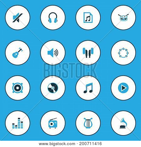 Music Colorful Icons Set. Collection Of Radio, Headphone, Note And Other Elements