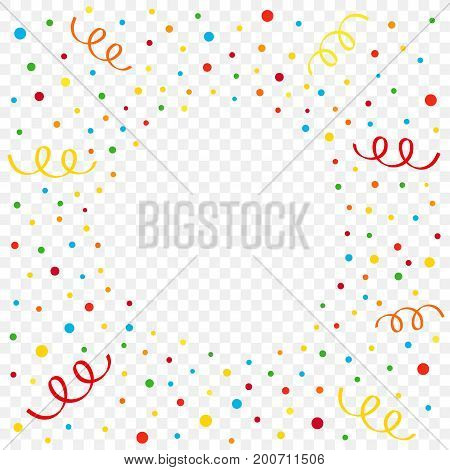 Colorful confetti and ribbon on transparent background. Birthday, New Year or Christmas vector illustration colored confetti and ribbons flying  radial flash