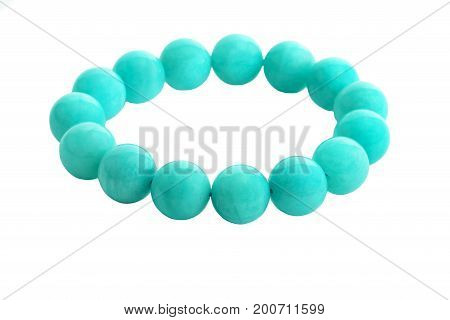 Beautiful Amazonite or Amazon stone beads in bracelet isolated on white background