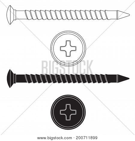 Wood screw. Black and white outline drawing. Vector illustration isolated on white background