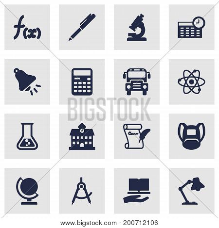 Collection Of Rucksack, Autobus, Globe And Other Elements.  Set Of 16 School Icons Set.