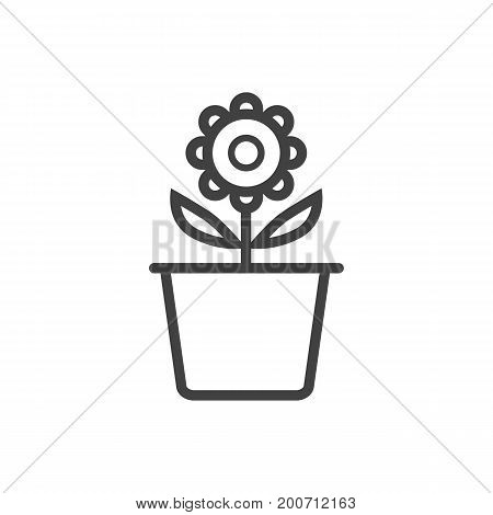 Vector Plant Pot Element In Trendy Style.  Isolated Flowerpot Outline Symbol On Clean Background.