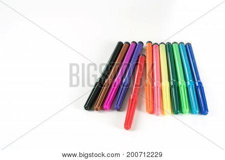 MultiColored Felt-Tip Pens or marker pens on white background