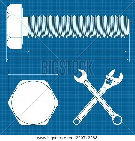 Machine screw. Normal wrench and adjustable wrench. Bolt white icon. Vector illustration on blueprint background