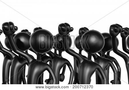 The Original 3D Characters Illustration In Protest