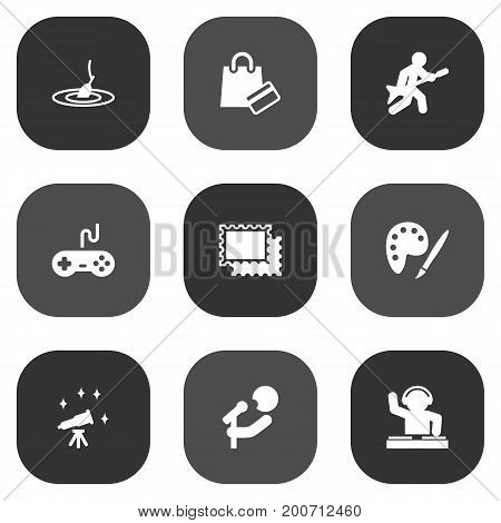 Collection Of Singer, Joystick, Collecting And Other Elements.  Set Of 9 Hobbie Icons Set.