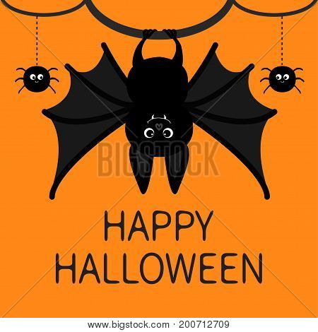 Bat hanging. Spider dash line web. Happy Halloween card. Cute cartoon character with big wing ears and legs. Black silhouette. Forest animal. Flat design Orange background Isolated Vector illustration