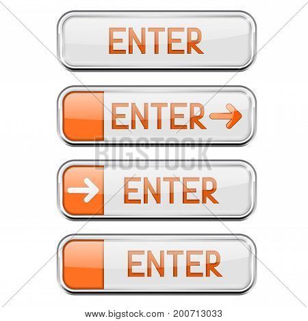 Enter button with chrome frame. White and orange rectangle button. Vector 3d illustration isolated on white background