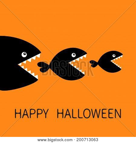Happy Halloween. Fish monster eating each other. Three fishes. Food chain. Black color silhouette. Cute cartoon character set. Baby kids collection.Orange background. Isolated. Flat design Vector