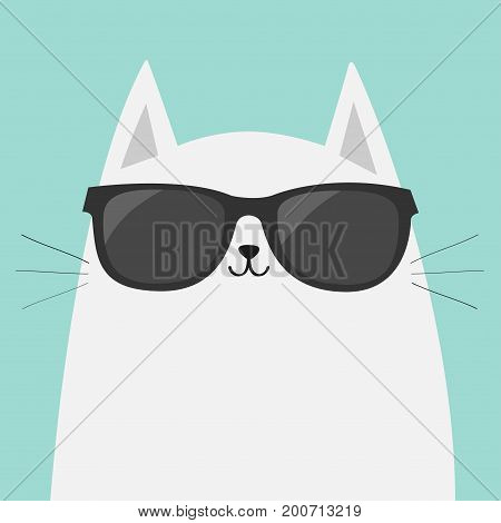 White cat wearing sunglasses eyeglasses. Black lenses. Cute cartoon funny character. Kitten in eyeglasses. Fashion animal. Blue background. Isolated. Flat design Vector illustration