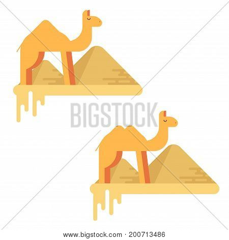 A Set Of Two Camels On The Background Of Pyramids Of Giza. Flat Design Illustration