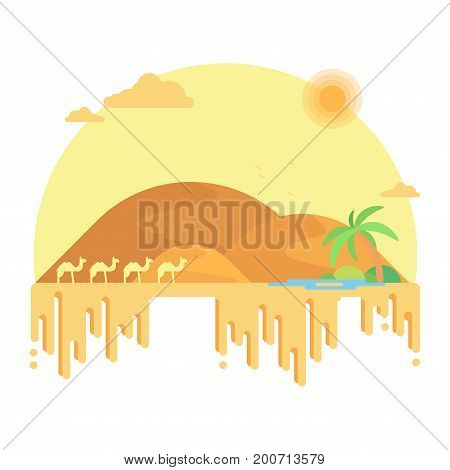 A Caravan Of Camels Goes To An Oasis Among The Dunes. Flat Design Illustration