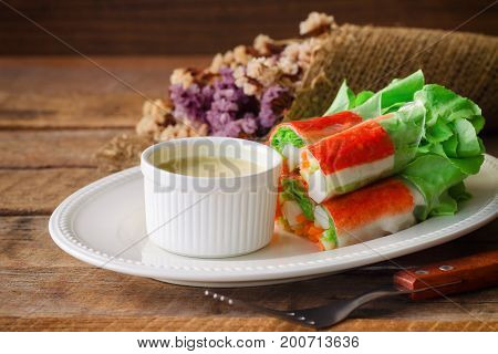 Fresh Spring Rolls With Fresh Vegetable And Crab Stick Served With Spicy Salad Cream Dipping Sauce.