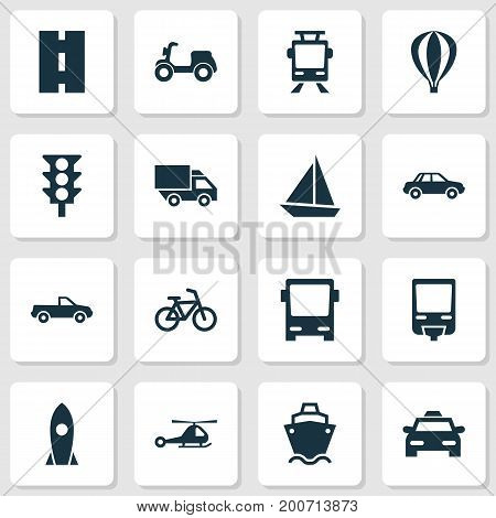 Transport Icons Set. Collection Of Cabriolet, Tanker, Stoplight And Other Elements