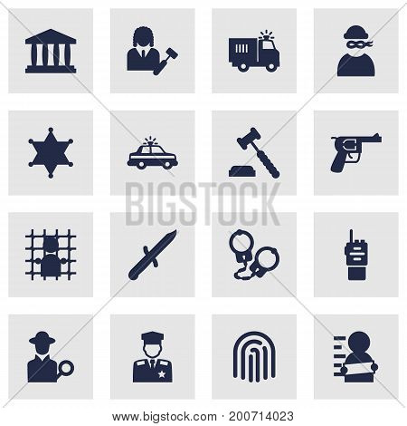 Collection Of Thief, Manacles, Policeman And Other Elements.  Set Of 16 Criminal Icons Set.
