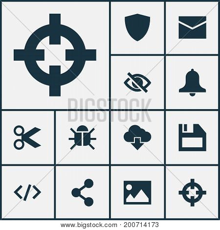 User Icons Set. Collection Of Goal, Safe, Siren And Other Elements