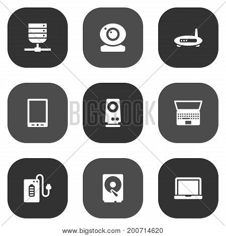 Collection Of Notebook, Hard Disk, Record And Other Elements.  Set Of 9 Computer Icons Set.