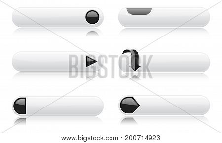 White buttons with black signs. Menu interface elements. Vector 3d illustration on white background