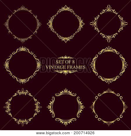 Set of eight Gold decorative vintage monograms. Elegant Round and rhombus gold frames on a dark background