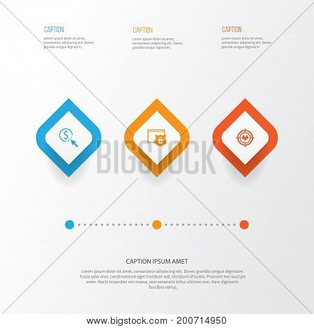 Advertising Icons Set. Collection Of PPC, Focus Group, Security And Other Elements