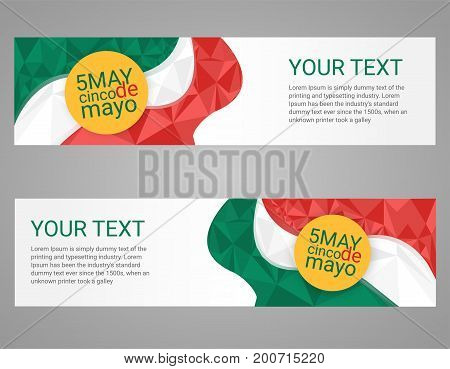 Cinco de Mayo poster. Greeting card mexican poster. Greeting card Mexican holiday. Horizontal banners with Mexican flag and orange circle