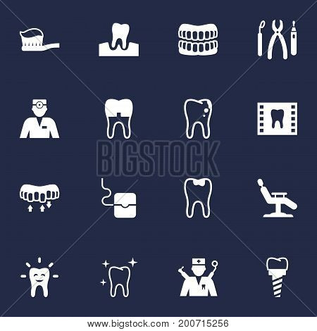 Collection Of Gingivitis, Caries, Orthodontist And Other Elements.  Set Of 16 Dental Icons Set.