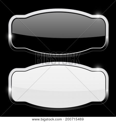 Decorative buttons with chrome frame. Vector illustration on black background