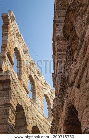 Part of wall of external perimeter of the Verona Arena, Italy