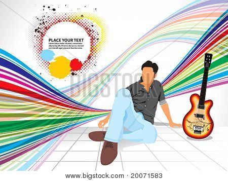 Abstract Colorful Background With Musical Boy