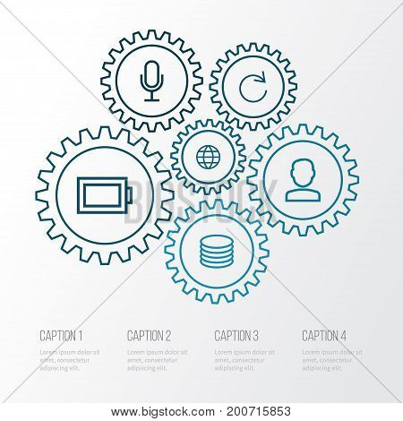 Interface Outline Icons Set. Collection Of Database, Audio, Globe And Other Elements