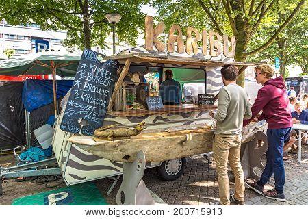 ANTWERPEN, BELGIUM - JUNE 04, 2017: Street food festival in Antwerp. Burger restaurant on wheels