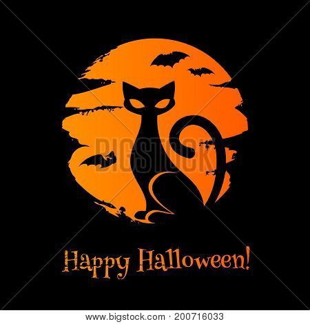Halloween background with cat, moon and bats. Good for greetings design. Paintbrush strokes texture.