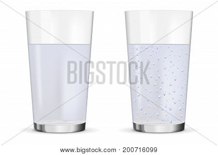 Glass of still and sparkling water. Vector illustration isolated on white background