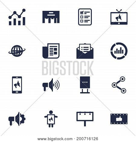 Collection Of Ads, Message, Application And Other Elements.  Set Of 16 Trade Icons Set.