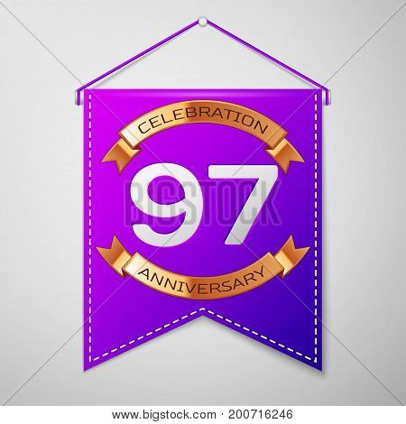 Realistic Purple pennant with inscription Ninety seven Years Anniversary Celebration Design on grey background. Golden ribbon. Colorful template elements for your birthday party. Vector illustration