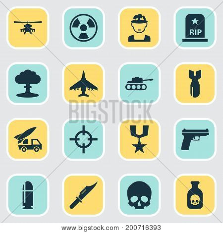 Battle Icons Set. Collection Of Ordnance, Rocket, Aircraft And Other Elements