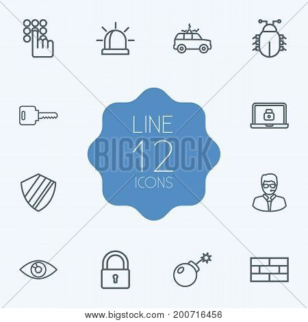 Collection Of Dynamite, Siren, Firewall And Other Elements.  Set Of 12 Procuring Outline Icons Set.