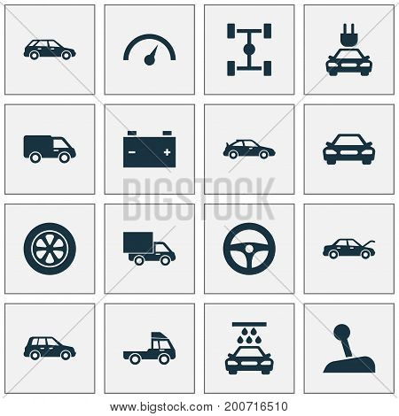 Auto Icons Set. Collection Of Chronometer, Drive Control, Accumulator And Other Elements