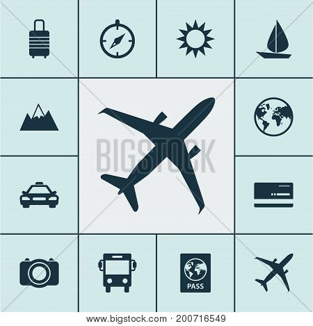 Traveling Icons Set. Collection Of Land, Sunny, Guide Elements