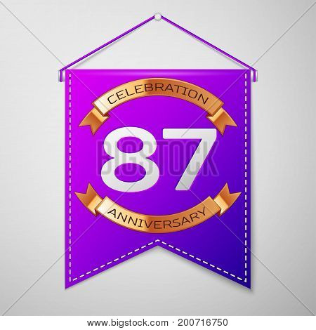 Realistic Purple pennant with inscription Eighty seven Years Anniversary Celebration Design on grey background. Golden ribbon. Colorful template elements for your birthday party. Vector illustration