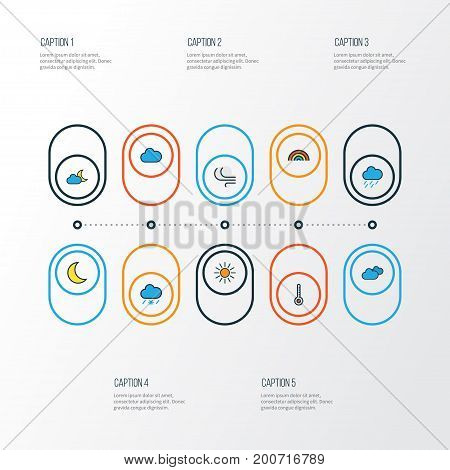 Air Colorful Outline Icons Set. Collection Of Tornado, Moonbeam, Sunshine And Other Elements