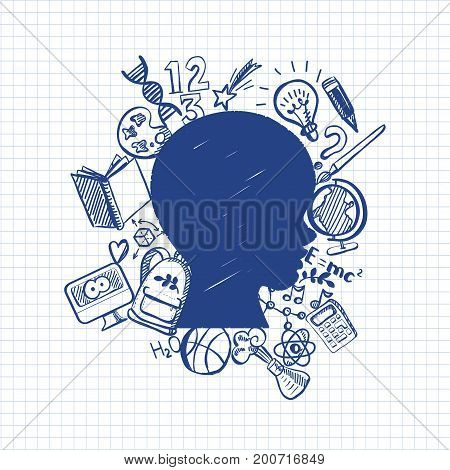 Hand-Drawn school and education Sketchy Notebook Doodles with boys had contour, Typography, Book, Heart, lamp, globe. Vector Illustration. Design Elements on Lined Sketchbook Paper Background
