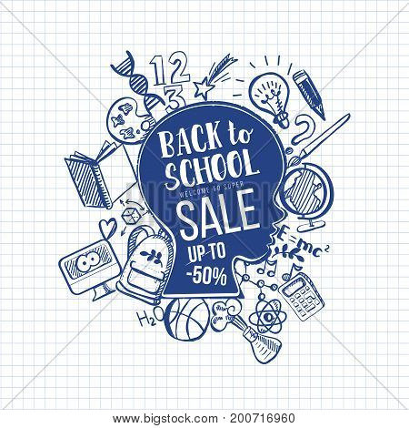 Hand-Drawn Back to School Sale Sketchy Notebook Doodles with boys had contour, Typography, Book, Heart, lamp, globe. Vector Illustration. Design Elements on Lined Sketchbook Paper Background