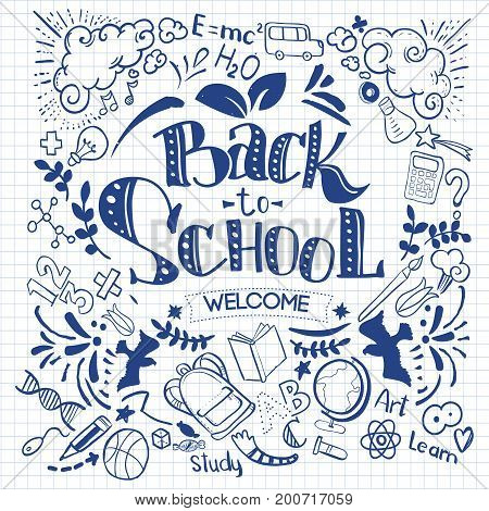 Hand-Drawn Back to School Sketchy Notebook Doodles with Lettering, Book, Heart. Vector Illustration Design Elements on Lined Sketchbook Paper Background